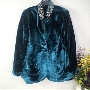 Soft Surroundings starlet jacket velvet embellish